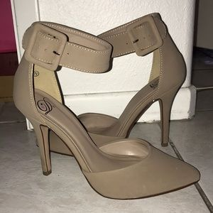 Nude pointed toe taupe pumps heels